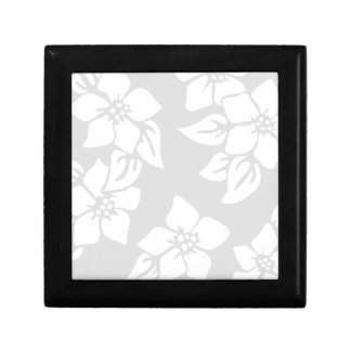 Gray and White Floral Small Square Gift Box