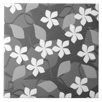 Gray and White Flowers. Floral Pattern. Large Square Tile