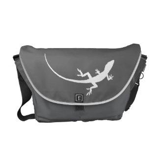 Gray and White Folk Art Lizard Messenger Bag