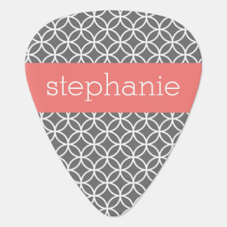 Gray and White Geometric Pattern Custom Name Plectrum
