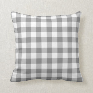 Gray And White Gingham Check Pattern Cushion