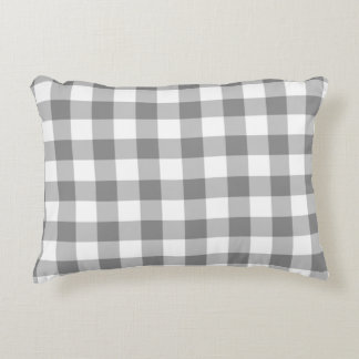 Gray And White Gingham Check Pattern Decorative Cushion
