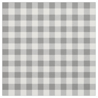 Gray And White Gingham Check Pattern Fabric