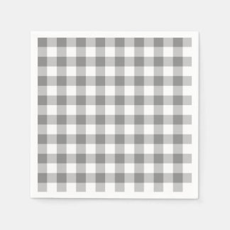 Gray And White Gingham Check Pattern Paper Napkins