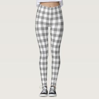 Gray And White Gingham  Checks Patterned Leggings