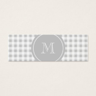Gray and White Gingham, Your Monogram Mini Business Card