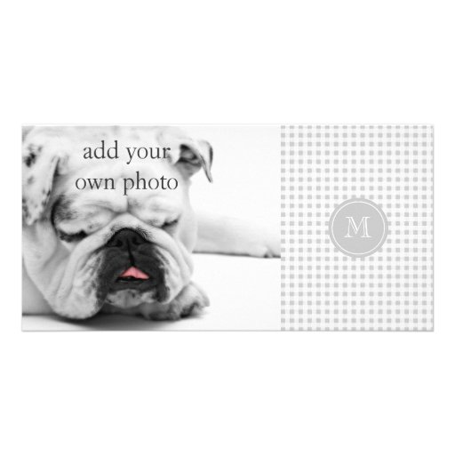 Gray and White Gingham, Your Monogram Custom Photo Card