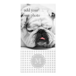 Gray and White Gingham, Your Monogram Photo Cards