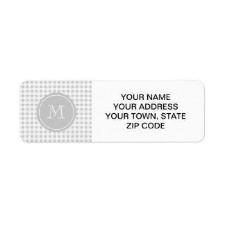 Gray and White Gingham, Your Monogram Return Address Label