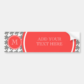 Gray and White Houndstooth Coral Monogram Car Bumper Sticker