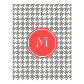 Gray and White Houndstooth Coral Monogram Flyer