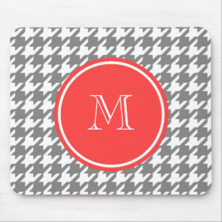 Gray and White Houndstooth Coral Monogram Mousepads