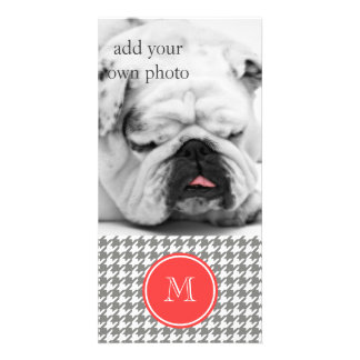 Gray and White Houndstooth Coral Monogram Customized Photo Card