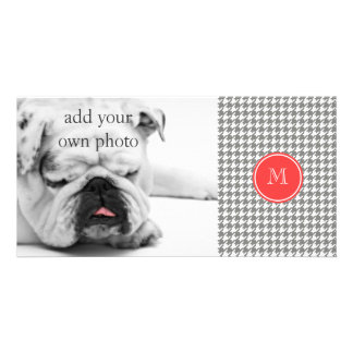 Gray and White Houndstooth Coral Monogram Photo Card