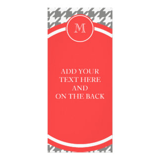 Gray and White Houndstooth Coral Monogram Rack Cards