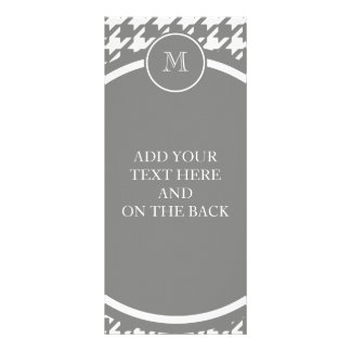 Gray and White Houndstooth Your Monogram Personalized Rack Card