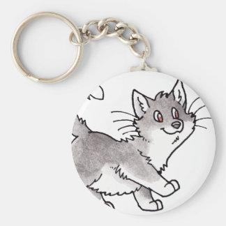 Gray and White Kitty Basic Round Button Key Ring
