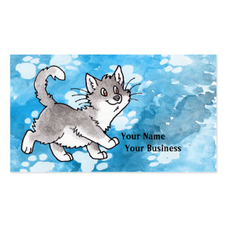 Gray and White Kitty Business Card