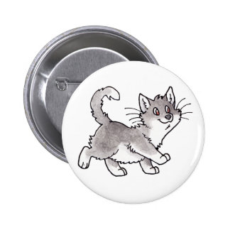 Gray and White Kitty Buttons