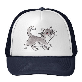 Gray and White Kitty Trucker Hats