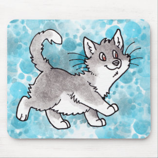 Gray and White Kitty Mousepad
