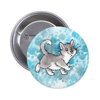 Gray and White Kitty Pinback Buttons