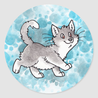 Gray and White Kitty Stickers