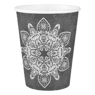 Gray and White Large Mandala | Paper Cup