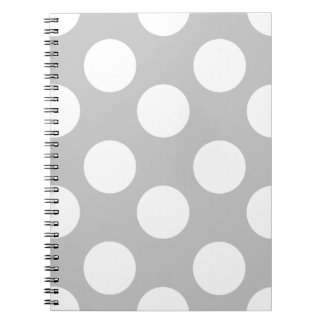 Gray and White Large Polka Dot Notebook