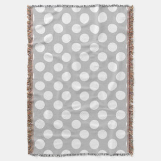 Gray and White Large Polka Dot Throw Blanket