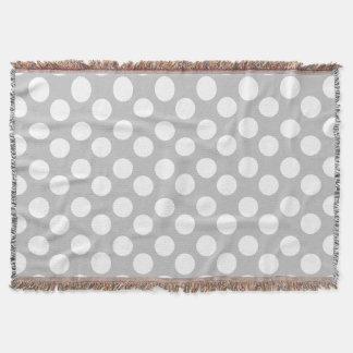 Gray and White Large Polka Dot Throw Blanket