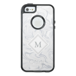 Gray and White Marble look with Diamond Monogram OtterBox iPhone 5/5s/SE Case
