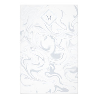 Gray and White Marble look with Diamond Monogram Stationery Design