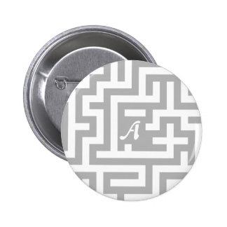 Gray and White Maze Monogram Pins
