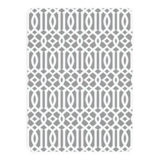 Gray and White Modern Trellis Pattern 14 Cm X 19 Cm Invitation Card