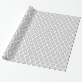 Gray and White Moroccan Quatrefoil Wrapping Paper