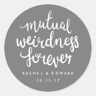 Gray and white mutual weirdness sticker