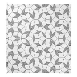 Gray and White Penrose Tiling Bandana