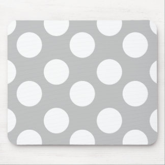Gray and White Polka Dot Mouse Pad