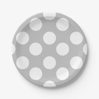 Gray and White Polka Dot Paper Plates 7 Inch Paper Plate