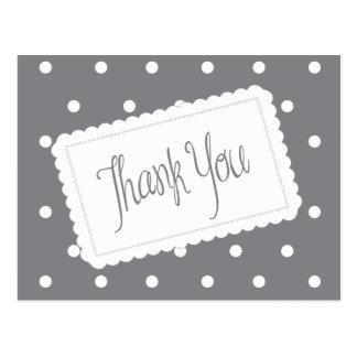 Gray And White Polka Dot Thank You Post Card