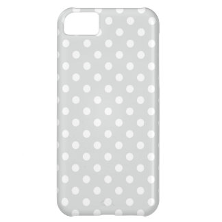 Gray and White Polka Dots Pattern iPhone 5C Case