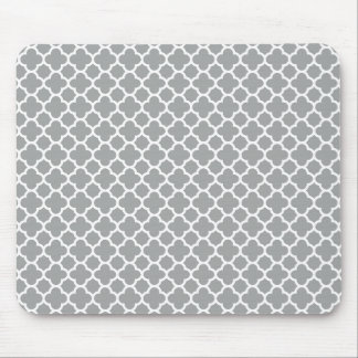 Gray and White Quatrefoil Mouse Pad