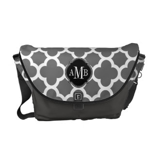 Gray and White Quatrefoil Pattern Monogram Courier Bag