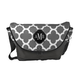 Gray and White Quatrefoil Pattern Monogram Messenger Bag