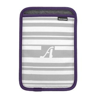 Gray and White Random Stripes Monogram Sleeve For iPad Mini