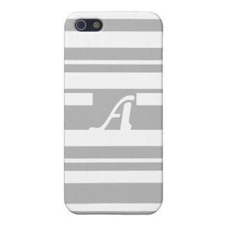 Gray and White Random Stripes Monogram iPhone 5 Case