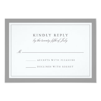 Gray and White Simple Border Wedding RSVP Card 9 Cm X 13 Cm Invitation Card