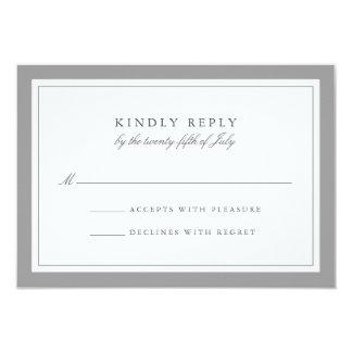 Gray and White Simple Border Wedding RSVP Card 9 Cm X 13 Cm Invitation Card