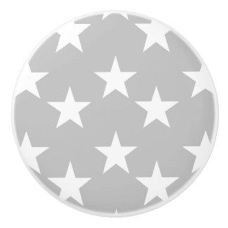 Gray and White Star Pattern Ceramic Knobs